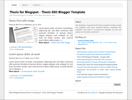 Thesis Seo Blogger Template
