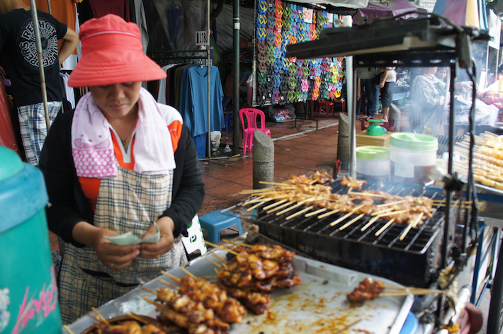 Thai satay on streets of Bangkok
