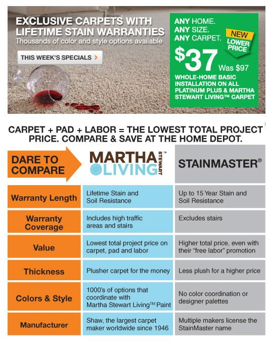 Martha Stewart Carpet Home Depot Prices