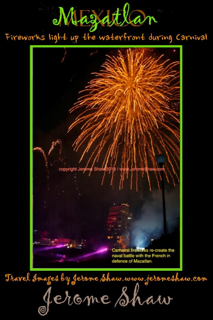 Carnival Fireworks over Mazatlán, Mexico. Copyright Jerome Shaw 2013 / TravelBoldy.com