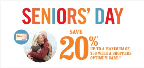 Shoppers Drug Mart is holding another Senior's Day promotion. On Thursday, October 19th, Seniors 65 years of age or older will get this Bonus.. save 20% with a purchase of $50 or more on almost anything in-store.