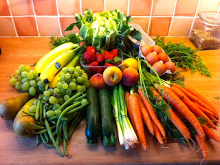 fresh fruit and vegetables from local market