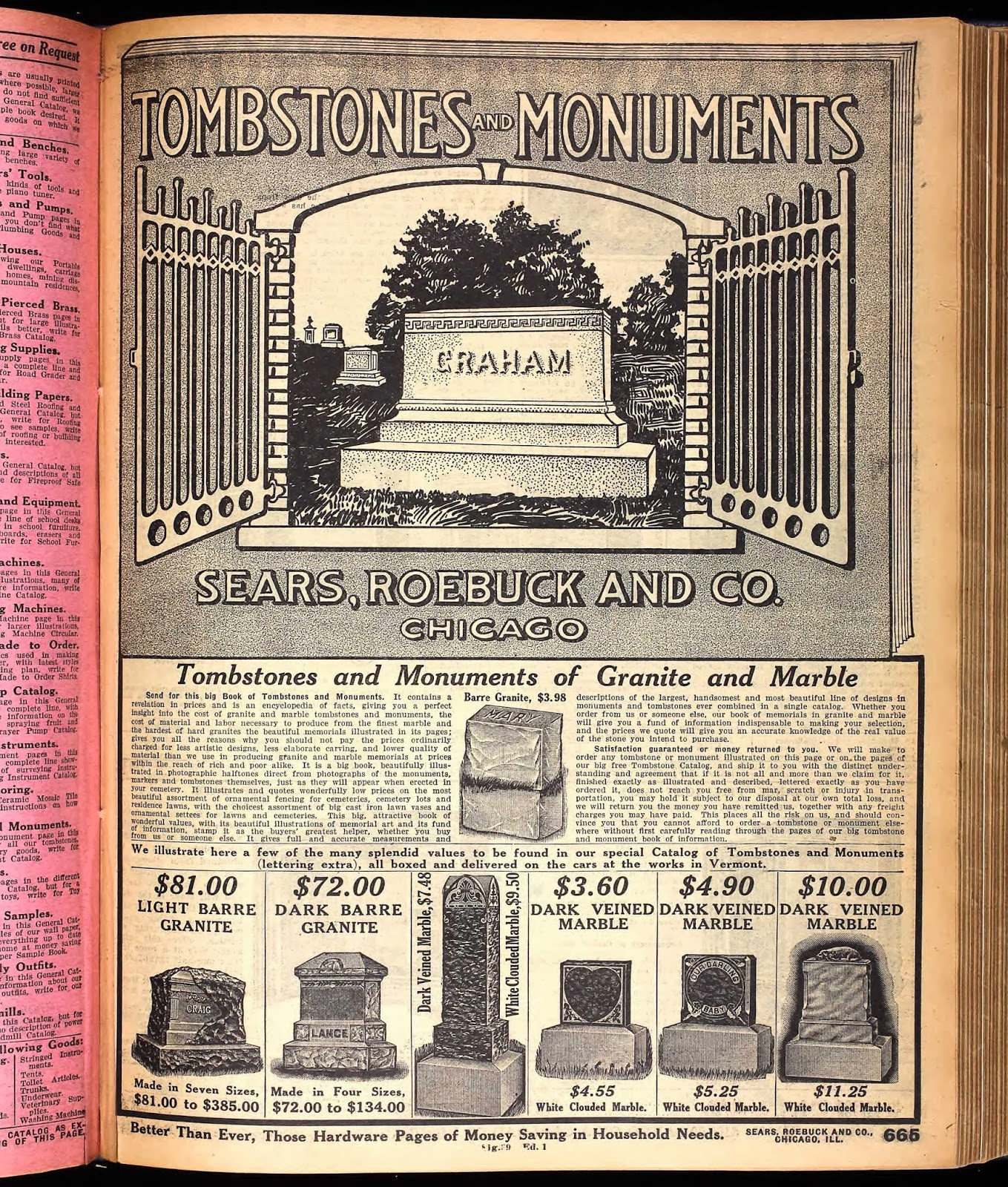 Sears Catalog, Tombstones