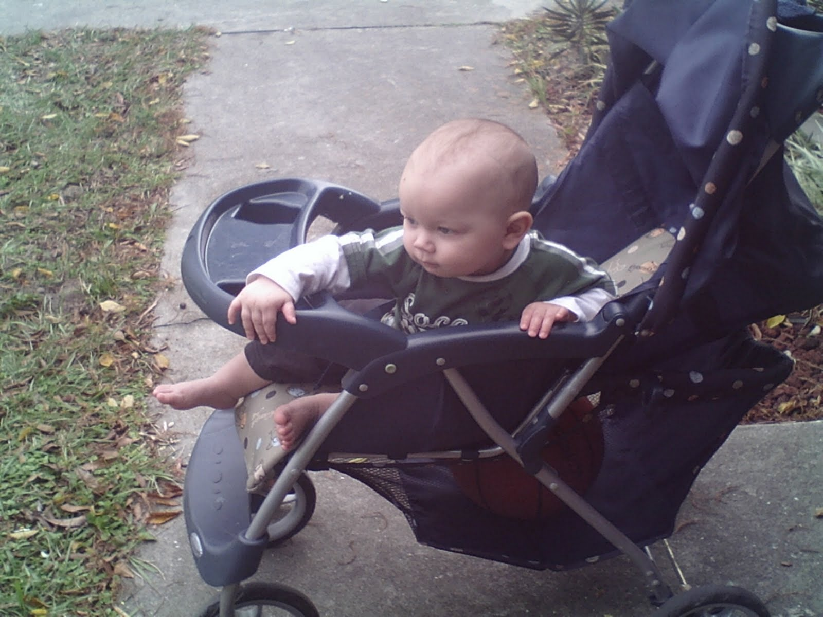 Baby playing outside