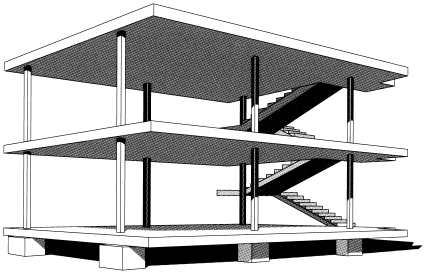Over here over there merging the twos corbusier vs for Maison domino