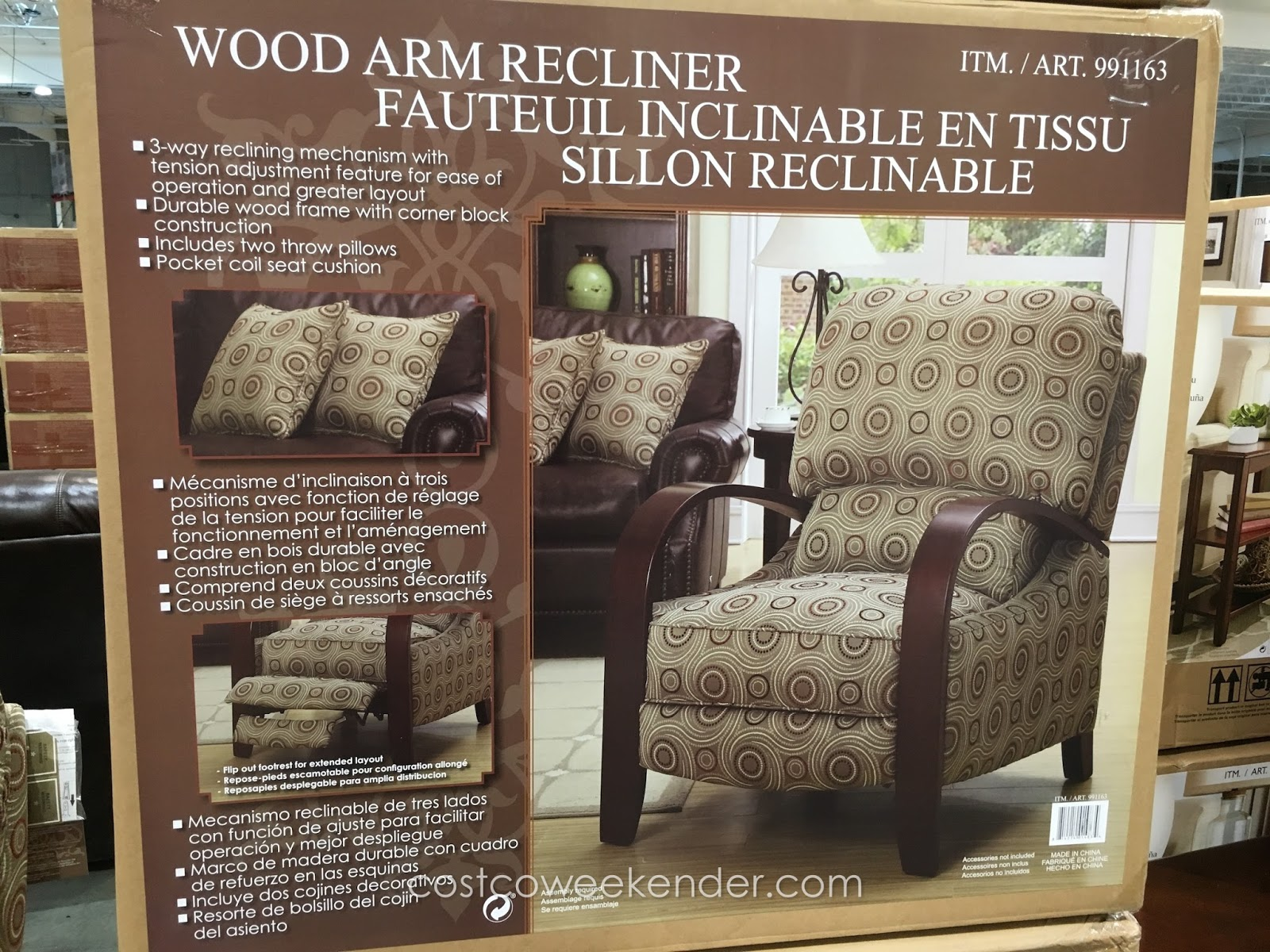 Synergy Home Furnishings Wood Arm Recliner u2013 Unique look comfortable rest & Synergy Home Furnishings Wood Arm Recliner Chair | Costco Weekender