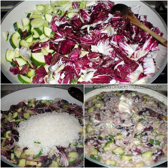 Risotto con zucchine, radicchio e stracchino