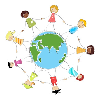 united nations day social justice NAMC montessori cosmic education children holding hands around world