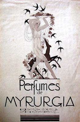 mirra. La Cía. Myrurgia, una empresa de perfumería ya desaparecida, encuentra en estos vocablos su raíz