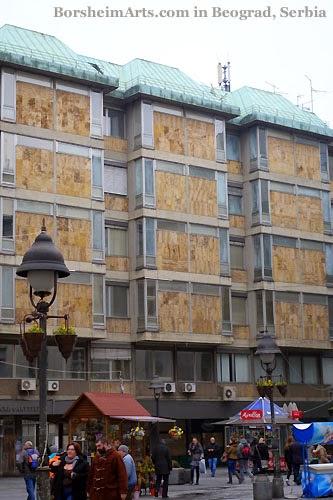 Murals Skadarlija Belgrade Serbia cork