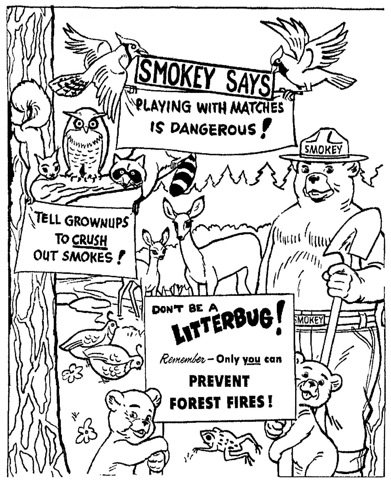 smokey the bear coloring pages - photo#10