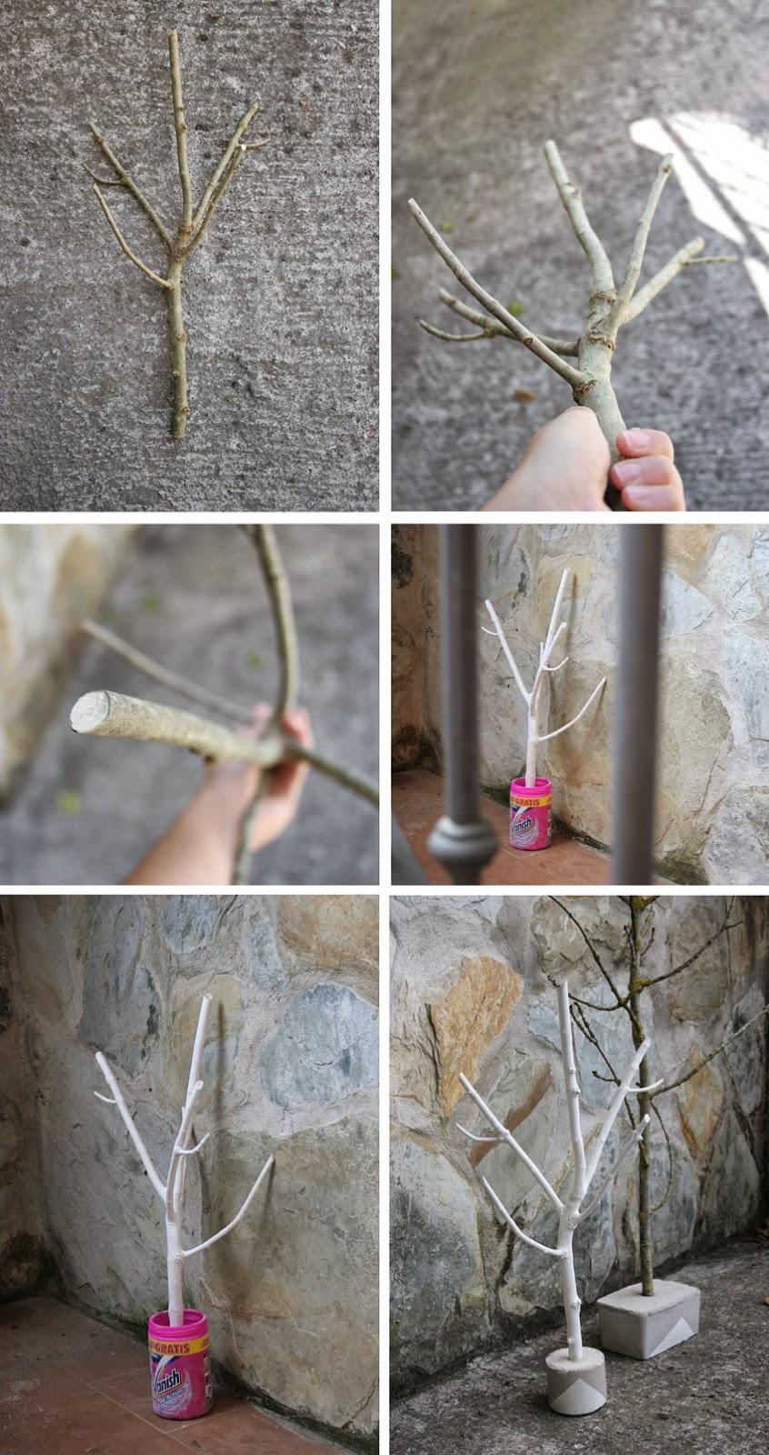 Diy joyero con rama de árbol y cemento2