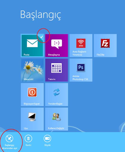 Windows 8 de başlangıç ekranındaki bir simgeyi kaldırmak için?