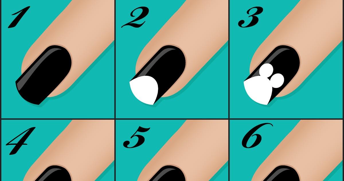 Легкие узоры на ногтях по схемам