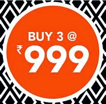 Jabong : Clothing, Footwear & Accessories Buy 3 Rs. 999 offer :- BuyToEarn