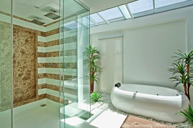 Construindo Minha Casa Clean Decoração da Semana! Inspirese no Banheiro! -> Banheiro Com Banheira E Jardim De Inverno