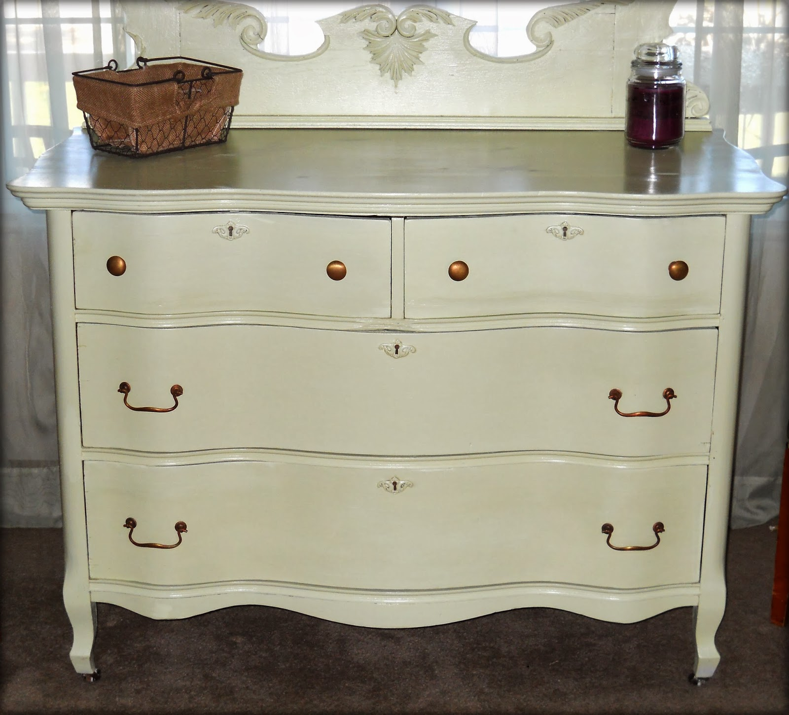 paw prints and paintbrushes antique bureau in sage green. Black Bedroom Furniture Sets. Home Design Ideas