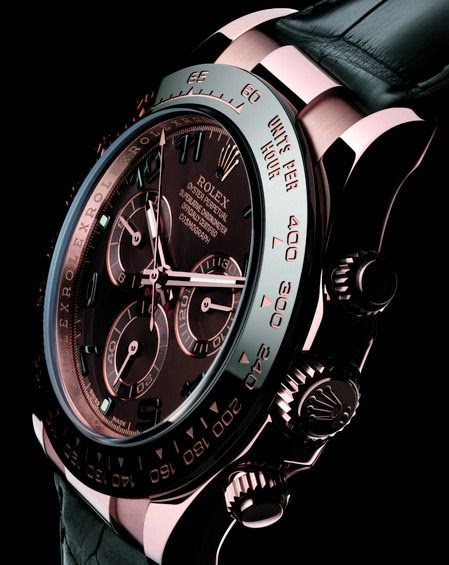 Rose Gold and Black Daytona Rolex watch
