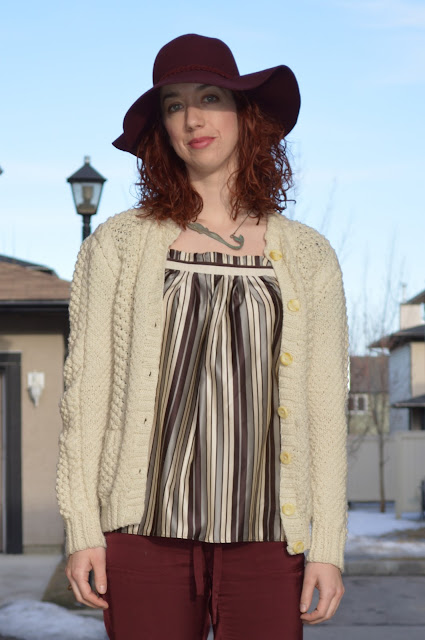 thift store, knitted cardigan, stripes