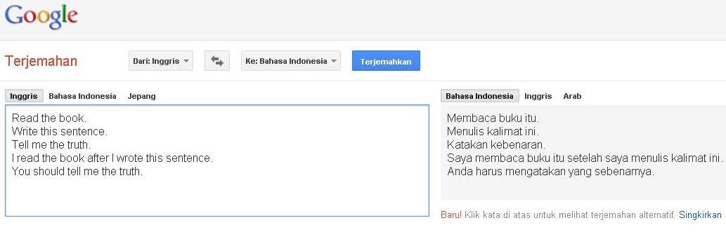 google translate belum bisa menerjemahkan imperative sentence, semoga