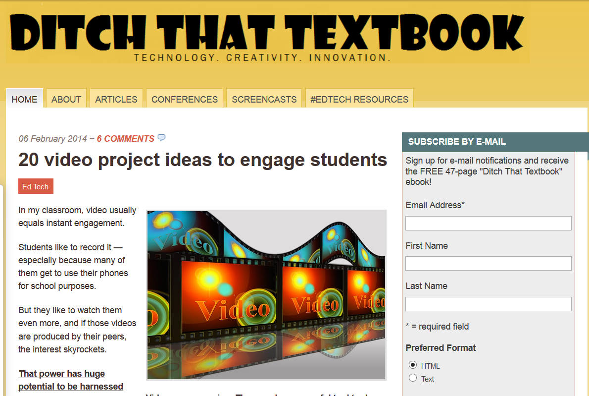 http://ditchthattextbook.com/2014/02/06/20-video-project-ideas-to-engage-students/