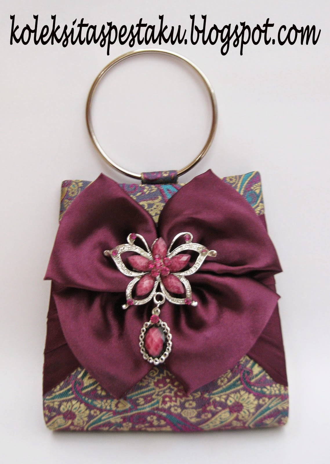 tas pesta ungu mewah elegant bahan sari india mirip songket genit elegant