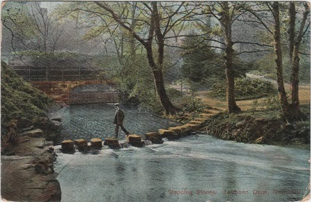Vintage postcard of the Stepping Stones, Jesmond Dene, Newcastle-on-Tyne