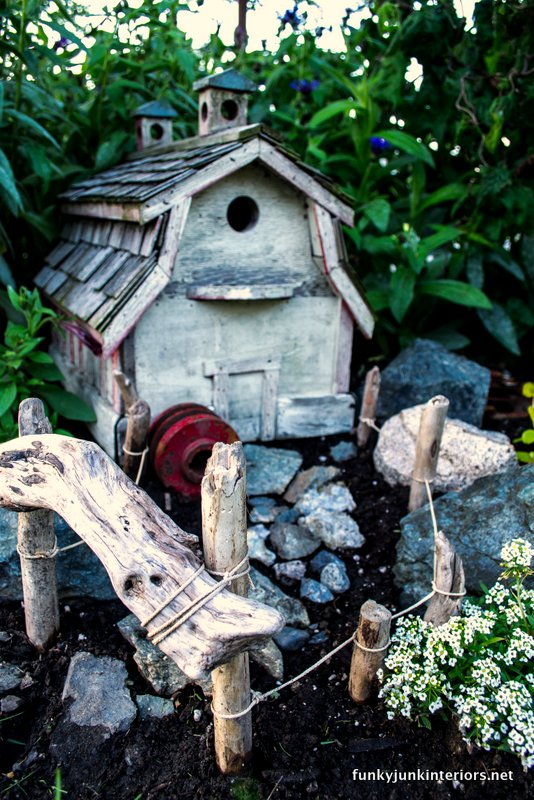 outdoor fairy garden farm style via Funky Junk Interiors