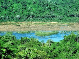 Rio Uruguai divide Brasil (parte superior) e Argentina (parte inferior da imagem).
