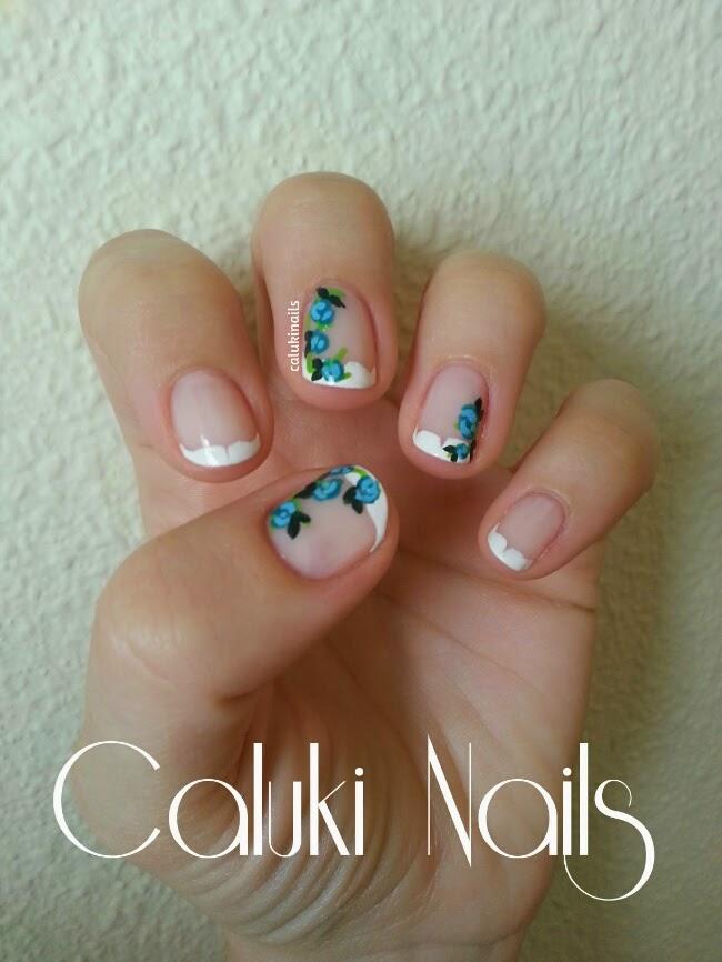 Caluki Nails Nail Art Francesa Con Flores