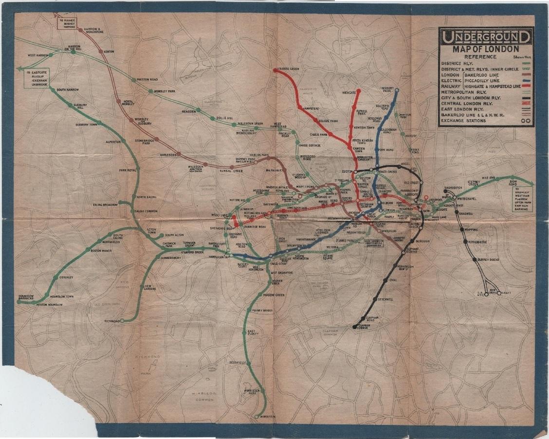 London Underground map c1924 Vintage London Underground