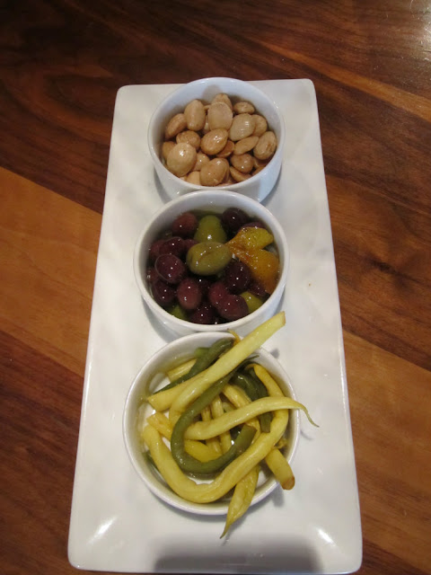 Marinated olives, pickled beans and roasted almonds at re:public seattle