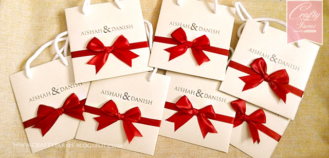 Modern Red Bow Paper Bag Themed Wedding Card Singapore Malaysia