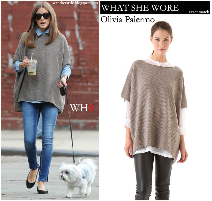 WHAT SHE WORE: Olivia Palermo in tan oversized poncho and blue ...