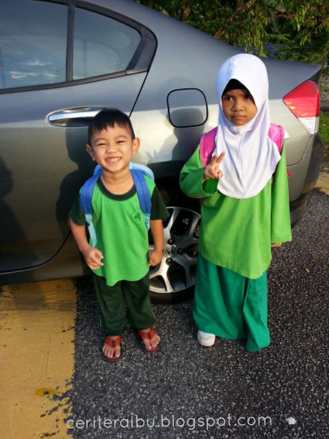 1st day Faris Zakwan dan Kakak Imani ke sekolah