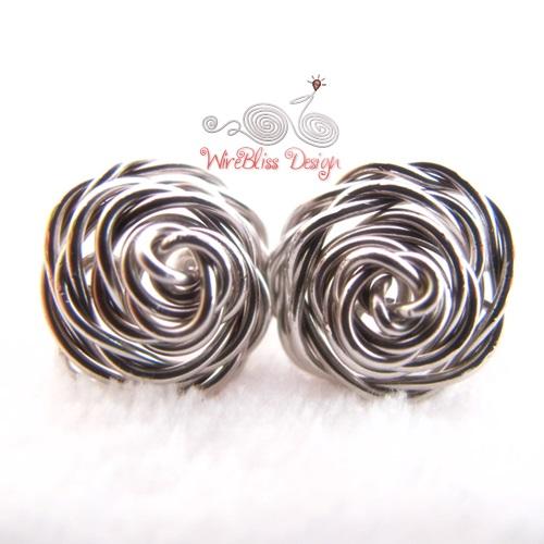 Wire Jewelry - Wire Wrap Rose Studs ~ WireBliss