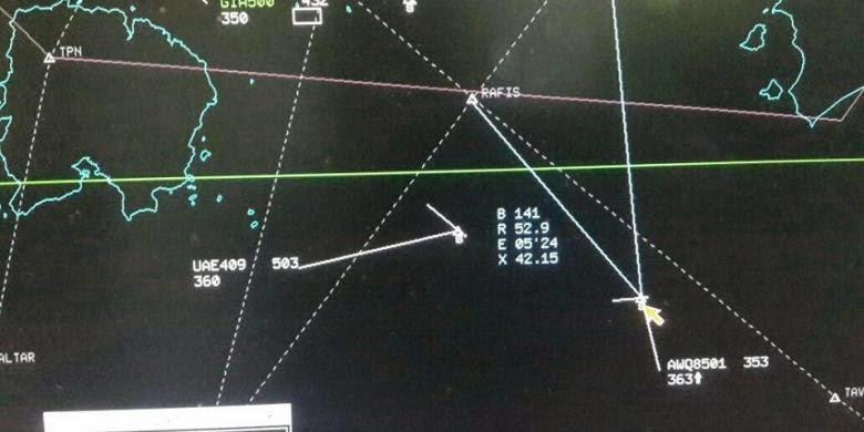 Bocoran data radar terakhir dari pesawat AirAsia berkode penerbangan QZ8501 sebelum hilang kontak
