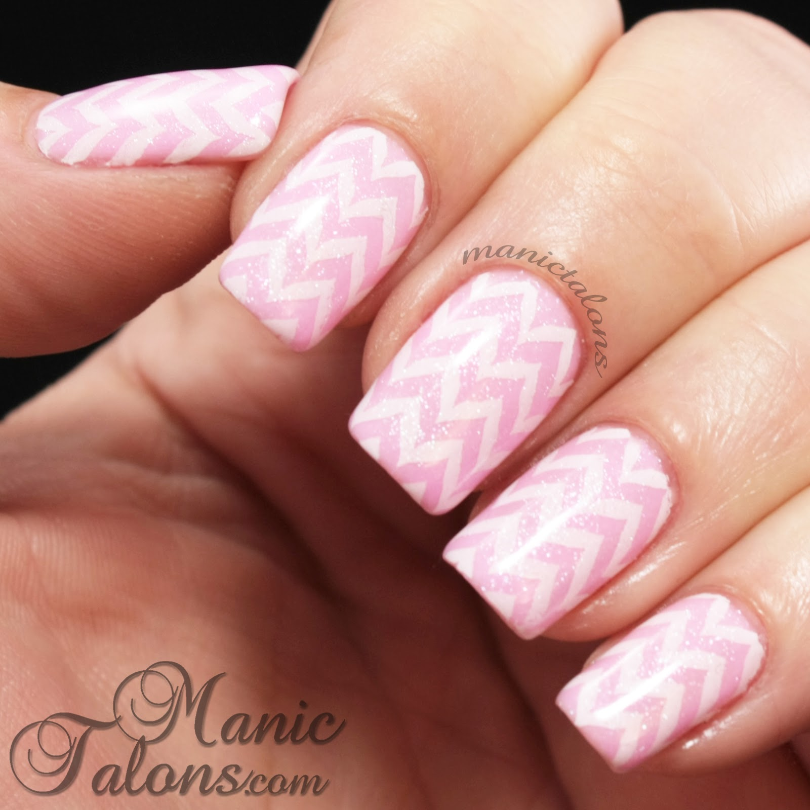 Lovely White on Pink Chevron Nail Art