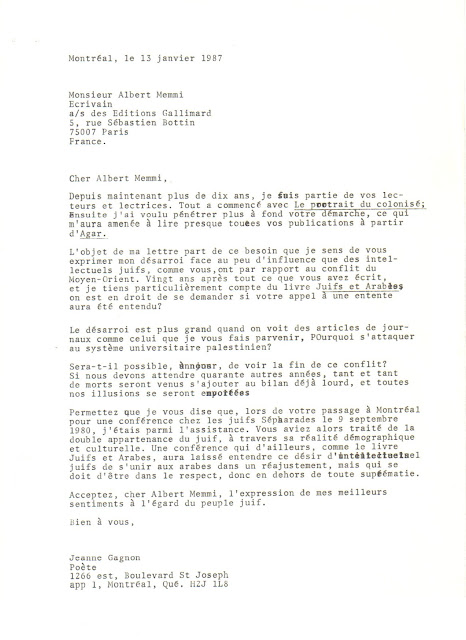 Lettre à Albert Memmi