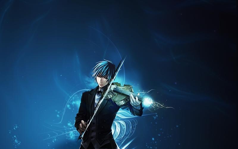 Anime Blue Music Boy