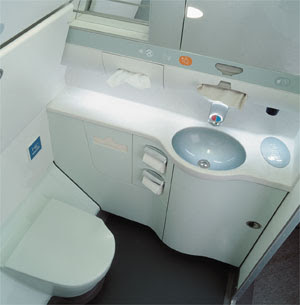 Lavatory is a small room on an aircraft with a toilet and sink