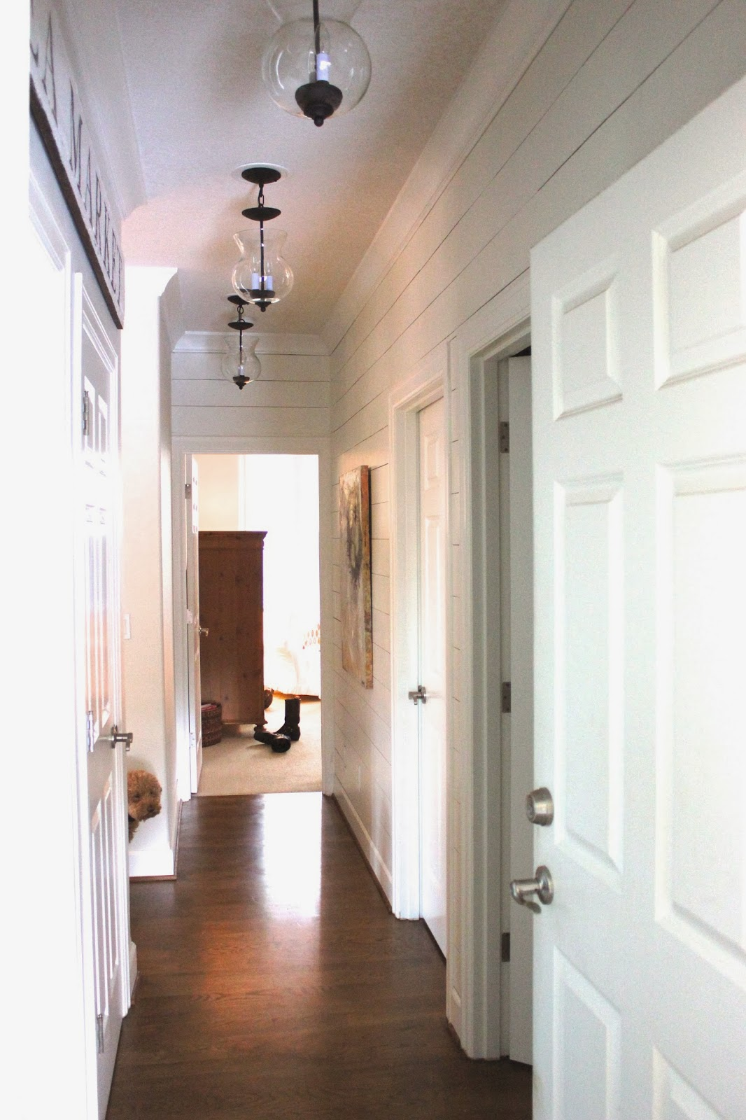 Planked Wall Hallway Gets *NEW* Light Fixtures! forever*cottage