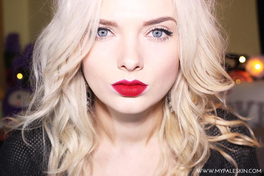 Bourjois Rouge Edition Velvet Matte Lipstick Frambourjoise Pale Skin Swatch My Pale Skin Red Lipstick