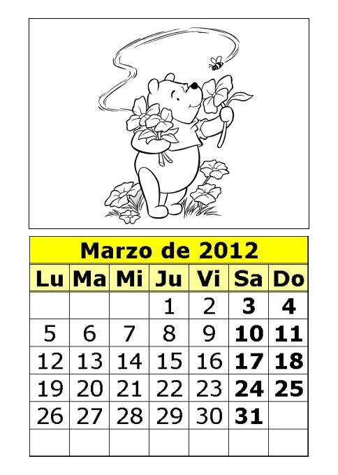 Calendario de ositos para colorear de 2012 (1ª parte) : Calendarios ...