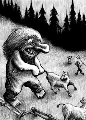 dibujo a blanco y negro de troll halando una vaca por la cola
