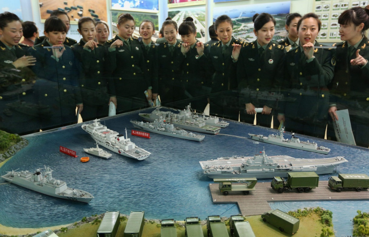 model of chinese liaoning cv16 aircraft carrier displayed