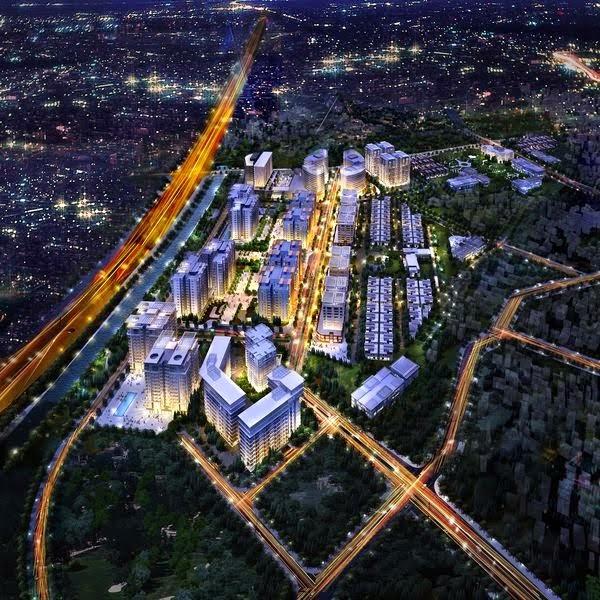 Phối cảnh tổng thể dự án chung cư Times City vào ban đêm