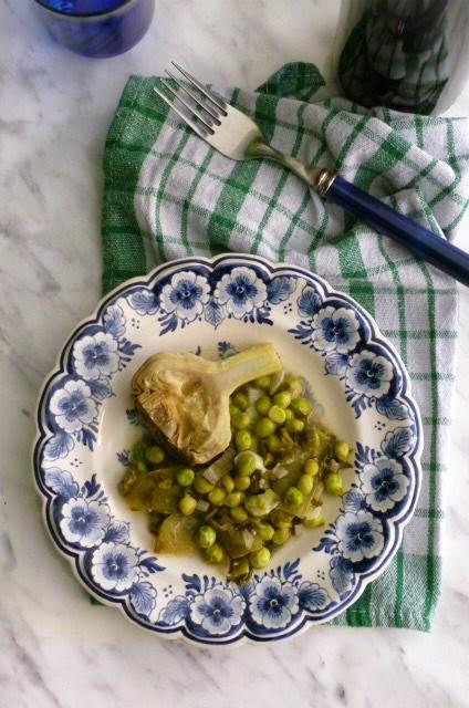 carciofi e piselli al limone