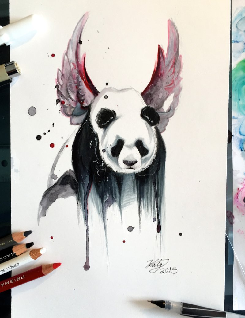 18-Disappearing-Panda-Katy-Lipscomb-Lucky978-Fantasy-Watercolor-Paintings-Colored-Pencils-Drawings-www-designstack-co