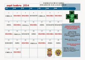 FARMACIAS DE GUARDIA SEPTIEMBRE 2014